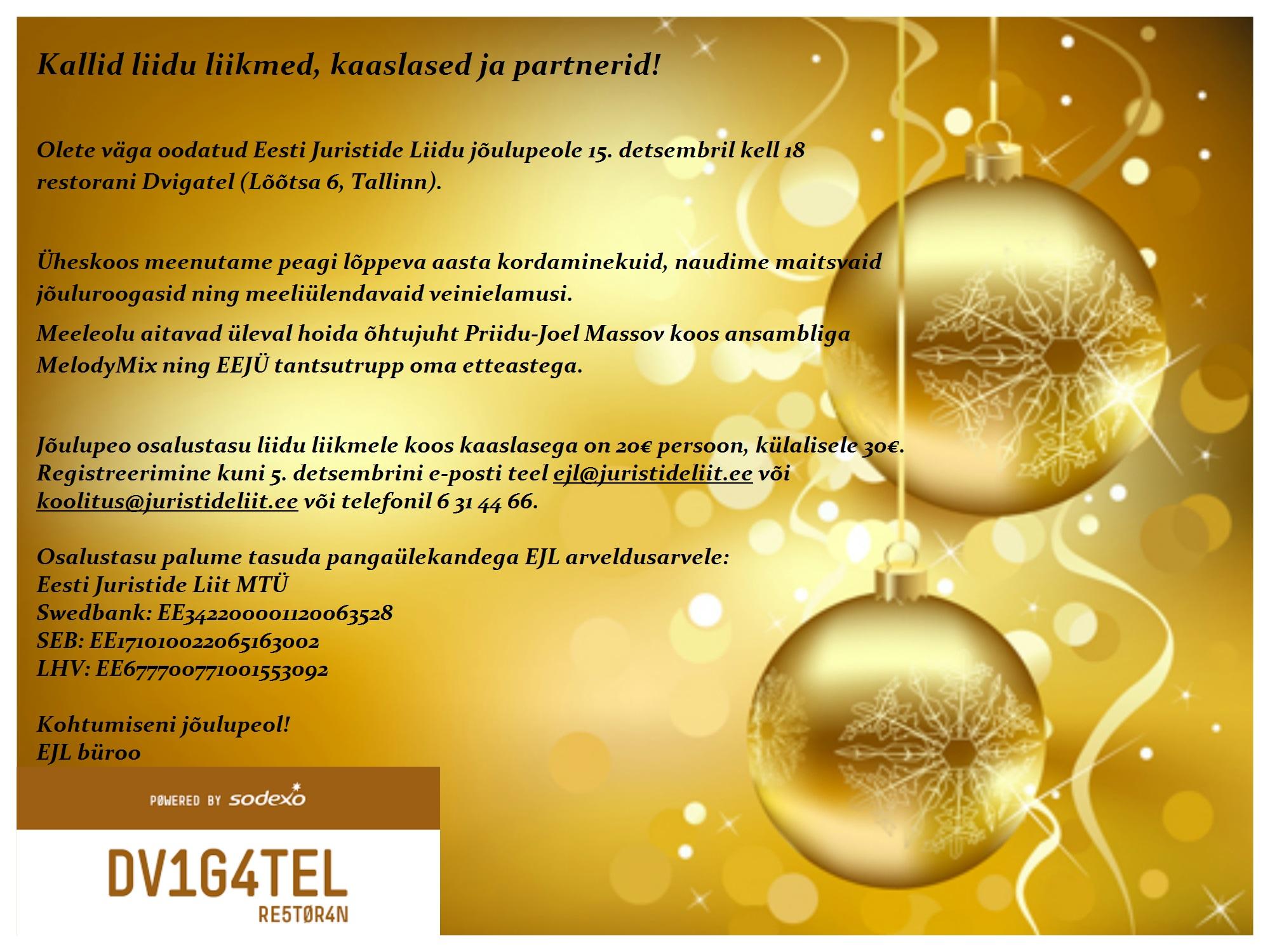 EJL jõulupeo kutse